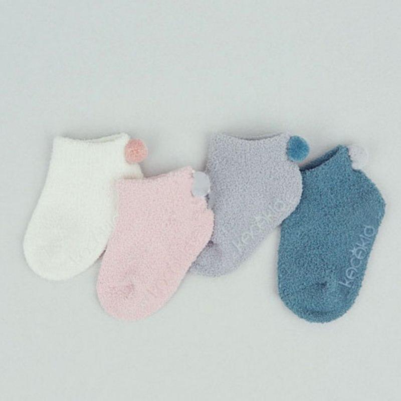 Candy Color Sweet Liffle Fur Toddler Newborn Kid Fleece Socks Winter Thick Warm Non-slip Socks