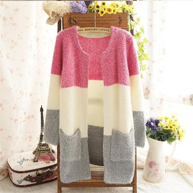 Mulheres Camisolas 2016 Outono Inverno quente Casual Cardigan Moda Malha Sólida Magro Encantador Blusas Elegantes Cores Doces Cardigans