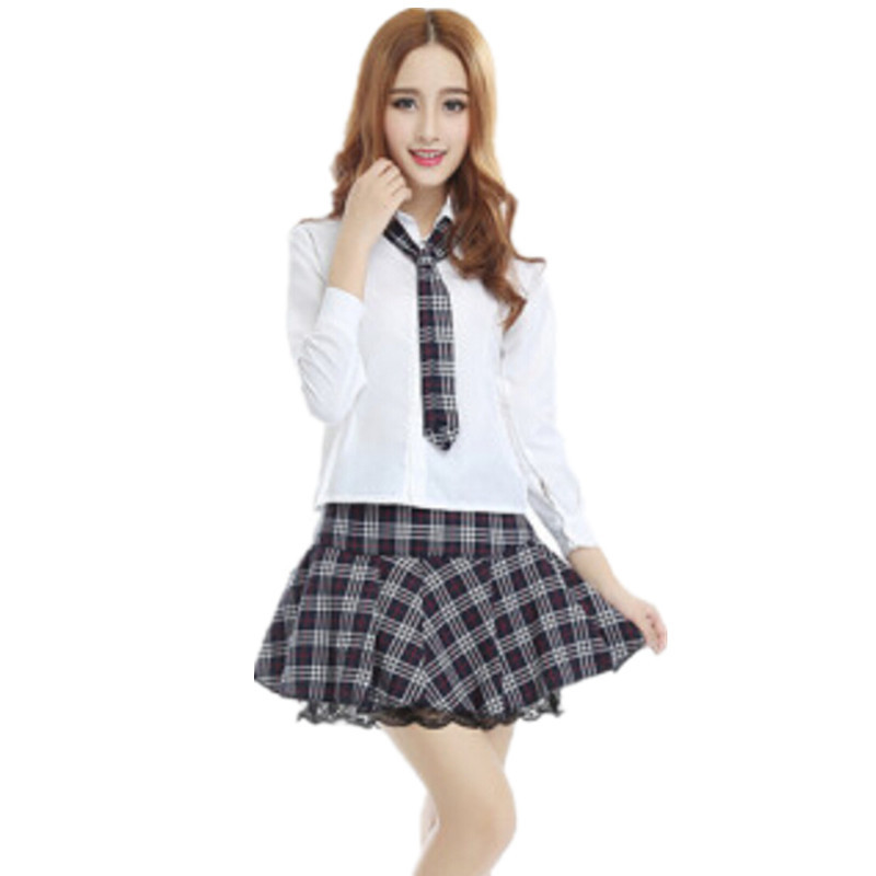 b22aa9c21 Free Shipping Hot Sale New High College Girl School Uniform Sailor Uniform  Japan Korea Long Sleeve Shirt Black Plaid Skirt-in School Uniforms from  Novelty ...