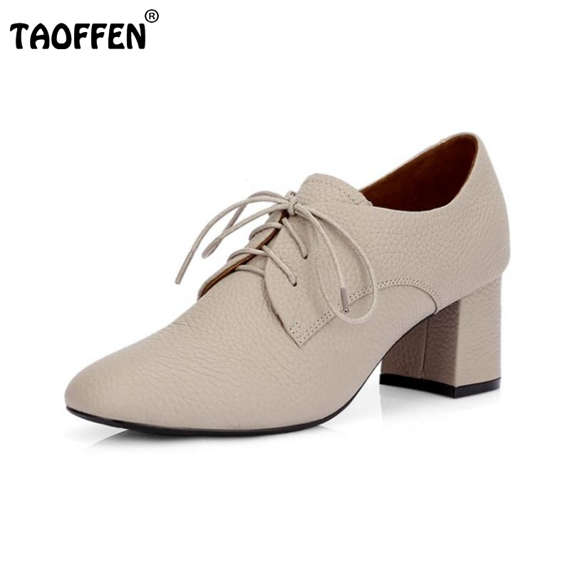 TAOFFEN Lady Real Leather High Heel Shoes Women Cross Strap High Heels Shoes Daily Leisure Female Heeled Footwear Size 34-39 rizabina concise women sneakers lady white shoes female butterfly cross strap flats shoes embroidery women footwear size 36 40