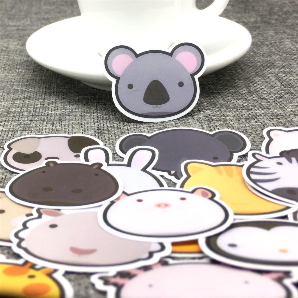 30 Pcs Animal World Head Paper Stickers Scrapbooking  Decoration DIY Toy PhoneAblum Diary Label Sticker Kawaii Stationery
