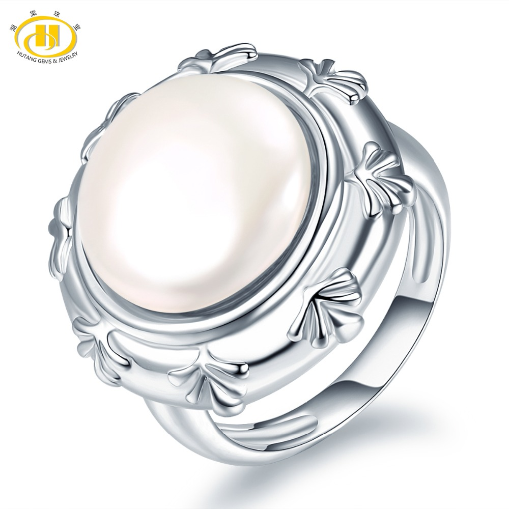 Hutang Pearl Jewelry 100% Natural Freshwater Pearl Ring 925 Sterling Silver Coin-Shape Pearls Fine Fashion Jewelry Xmas Gift New
