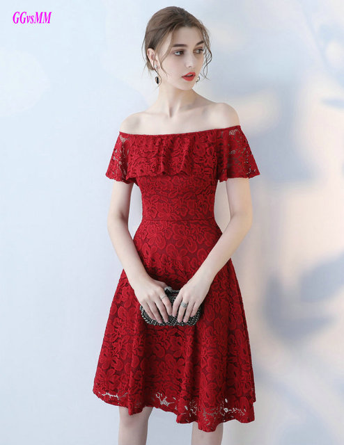 adc341e8fb88f US $87.22 11% OFF Glamorous Burgundy Lace Cocktail Dresses 2019 Sexy  Strapless Knee Length Casual Prom Party Gown Short Formal Lady Casual  Dress-in ...