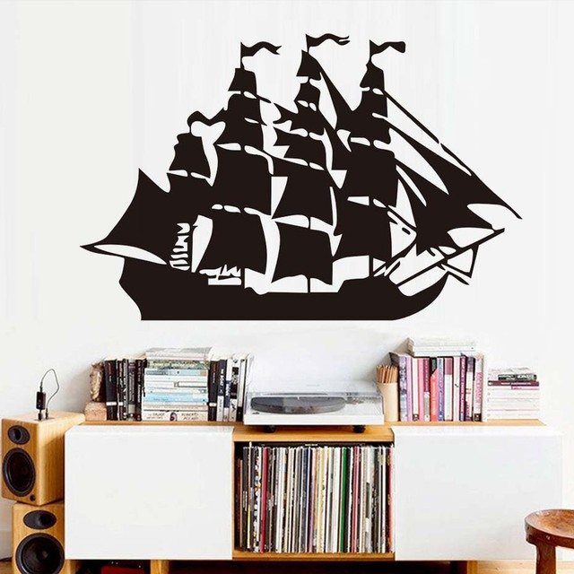 Free Shipping Funny Pirate Ship Wall Decals Removable Nursery Wall Decor  Vinyl Silhouette Creative Wall Stickers