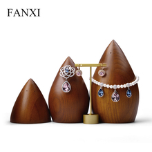 FANXI Wooden Jewelry Display Cone Necklace Earring Bracelet Exhibitor Organizer for