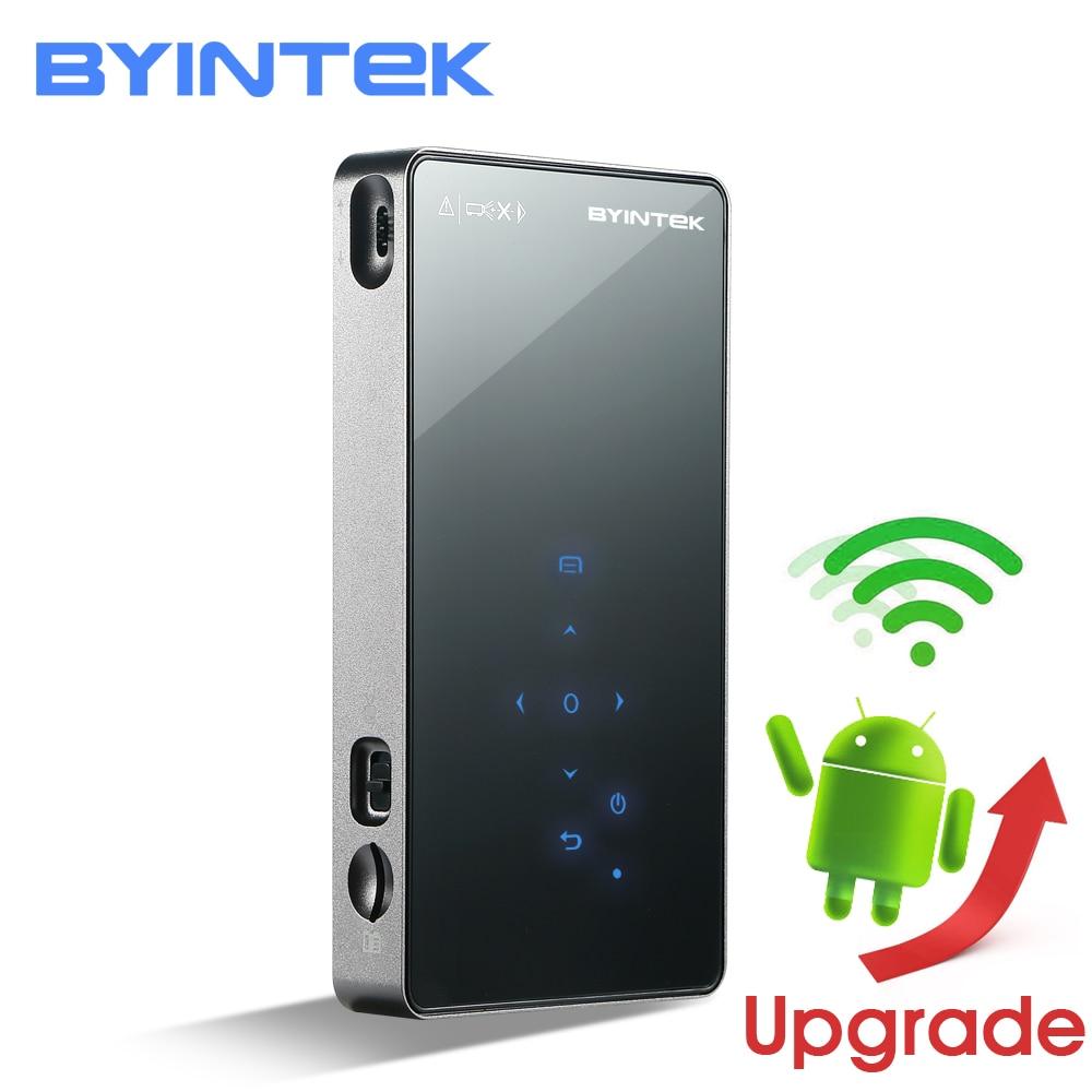 BYINTEK OVNI P8I Android 7,1 OS Pico bolsillo HD portátil láser Micro WIFI Bluetooth Mini LED, proyector DLP con batería HDMI USB