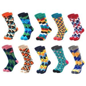 Image 3 - 10 זוגות\חבילה מותג איכות גברים שמחה גרבי מסורק כותנה צבעוני מצחיק גרבי מכירה לוהטת אופנה מקרית ארוך Mens דחיסת גרביים