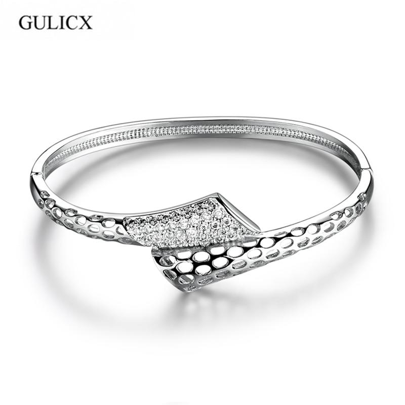 GULICX Snake Shape Lady Love Bangle for Women White Gold-color Bracelet White CZ Zircon Engagement Jewelry Z025