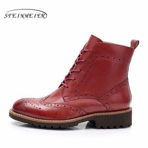Image 4 - Yinzo حذاء من الجلد النساء جلد البقر الحقيقي جولة تو الدانتيل متابعة سيدة الموضة أحذية منخفضة الكعب الشتاء الأحذية اليدوية 2020