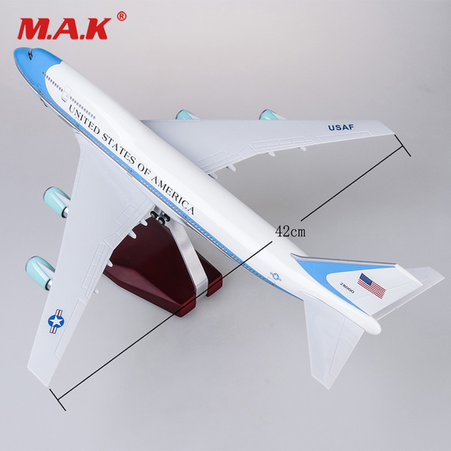 US $74 38 7% OFF|1/150 47cm Air Force Diecast Airplane Boeing 747 with  Landing Gear Voice Control Cabin Light Aircraft Model for Fans  Collection-in