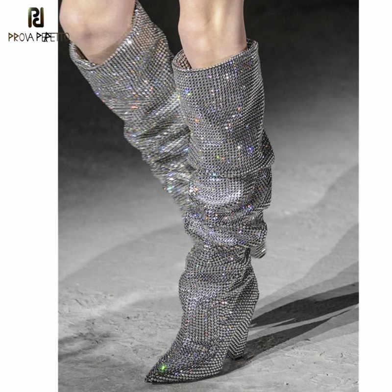 Prova Perfetto New Bling Crystal Boots Spike Heel Pleated Rhinestone Knee  High Boots Glittering Stage Tall 19a7f44fb1f4