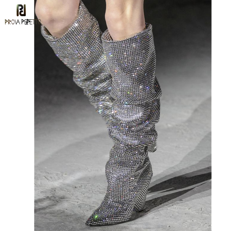 Prova Perfetto New Bling Crystal Boots Spike Heel Pleated Rhinestone Knee High Boots Glittering Stage Tall Boots Wedding Shoes