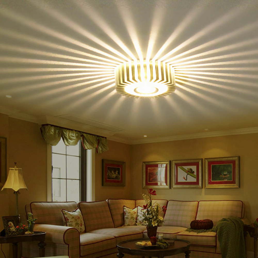 Jeff Wall Light Bulb Room : Led Wall Light Lamp Round Sunflower 3W Aluminum 110/220V indoor Home Bar KTV Living Room ...