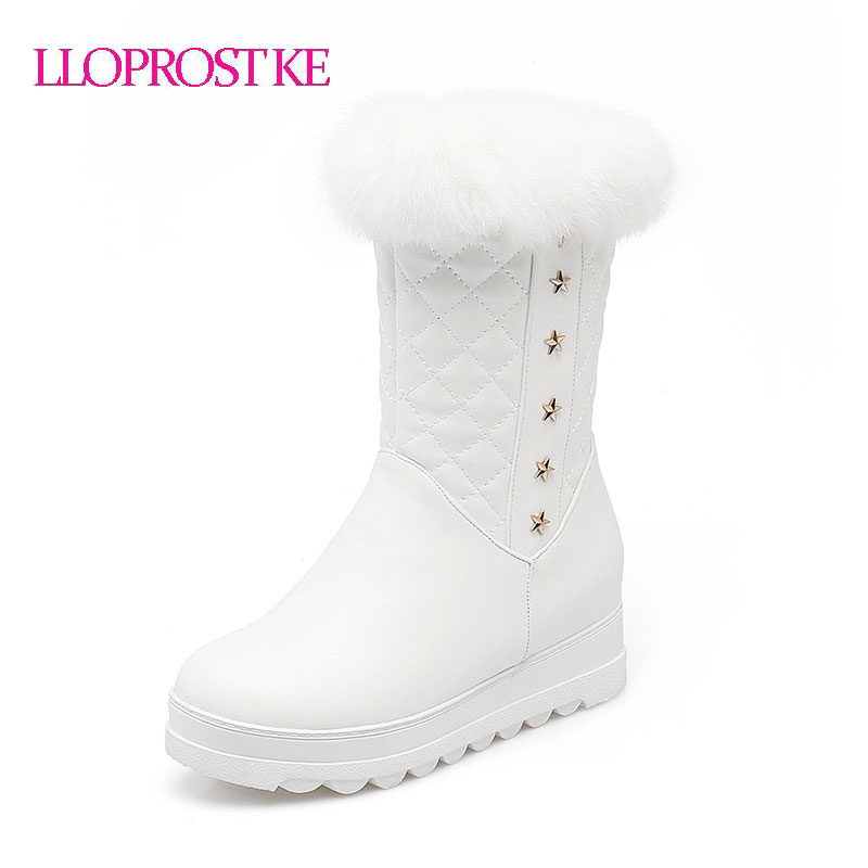 LLOPROST KE Boots Women Sweet Casual Mid Calf Plush Boots Round Toe Real Rabbit Hair Decoration Winter Warm Lady Shoes GL065 double buckle cross straps mid calf boots