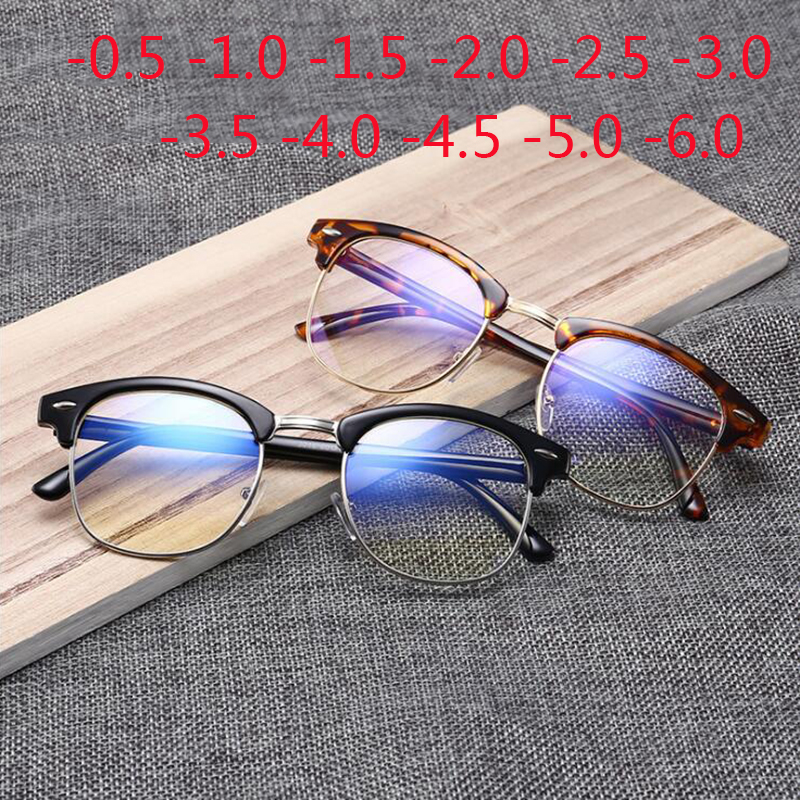 Half Frame Student Myopia Glasses With Degree Women Men Finished Spectacle Glasses -0.5 -1.0 -1.5 -2.0 -2.5 -3.0 -4.0 To -5.0