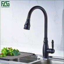 FLG Кухонный Кран Все Вокруг Повернуть Swivel 2-функция Выход Воды Вытащить Поворотный Черный Масло Втирают Бронзовый Кухня Смесители C052O