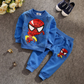 BCS201  Free shipping !! New Children spring SpiderMan cartoon boys and girls T-shirt + pants children's sports clothing set