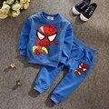 BCS201 Frete grátis!! novas Crianças primavera SpiderMan dos desenhos animados meninos e meninas T-shirt + calças das crianças conjunto de roupas esportivas