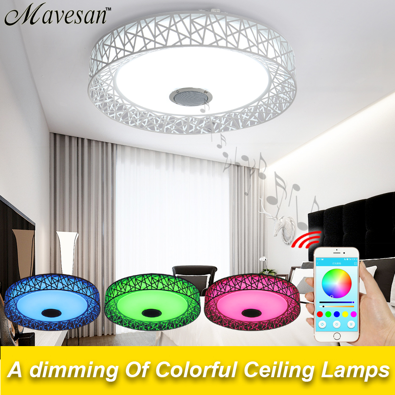 2017 Bluetooth 4.0 Control LED Ceiling Light Music & Color Changing Smart led ceiling lamp metal & Acrylic lampshade for party mipow btl300 creative led light bluetooth aromatherapy flameless candle voice control lamp holiday party decoration gift