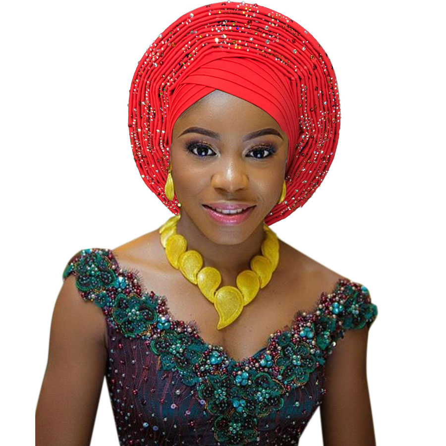 African head tie nigerian head tie auto gele headtie fashion african turban head wrap studded stoned african headtie (7)