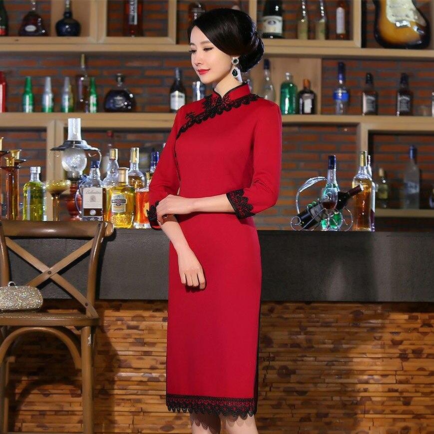 Red Noble Womens Cotton Knee Length Cheongsam Hot Sale Traditional China Lady Qipao Elegant Slim Dress Size S M L XL XXL 27647A