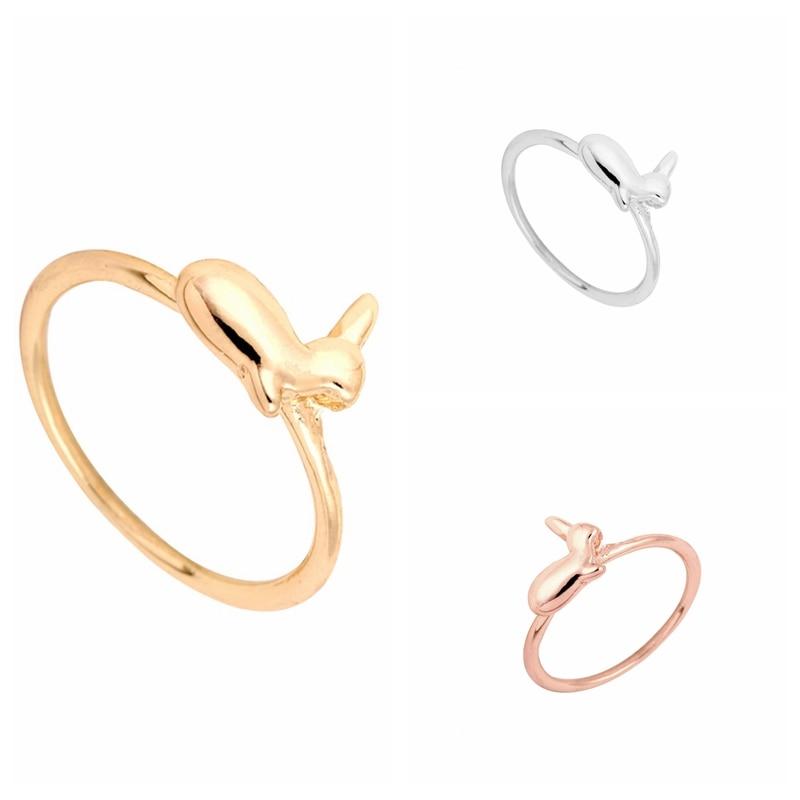 850cf852b yiustar Gold Silver and Rose Gold Alloy Animal Bunny Ring Cute Rabbit Women  Ring R106