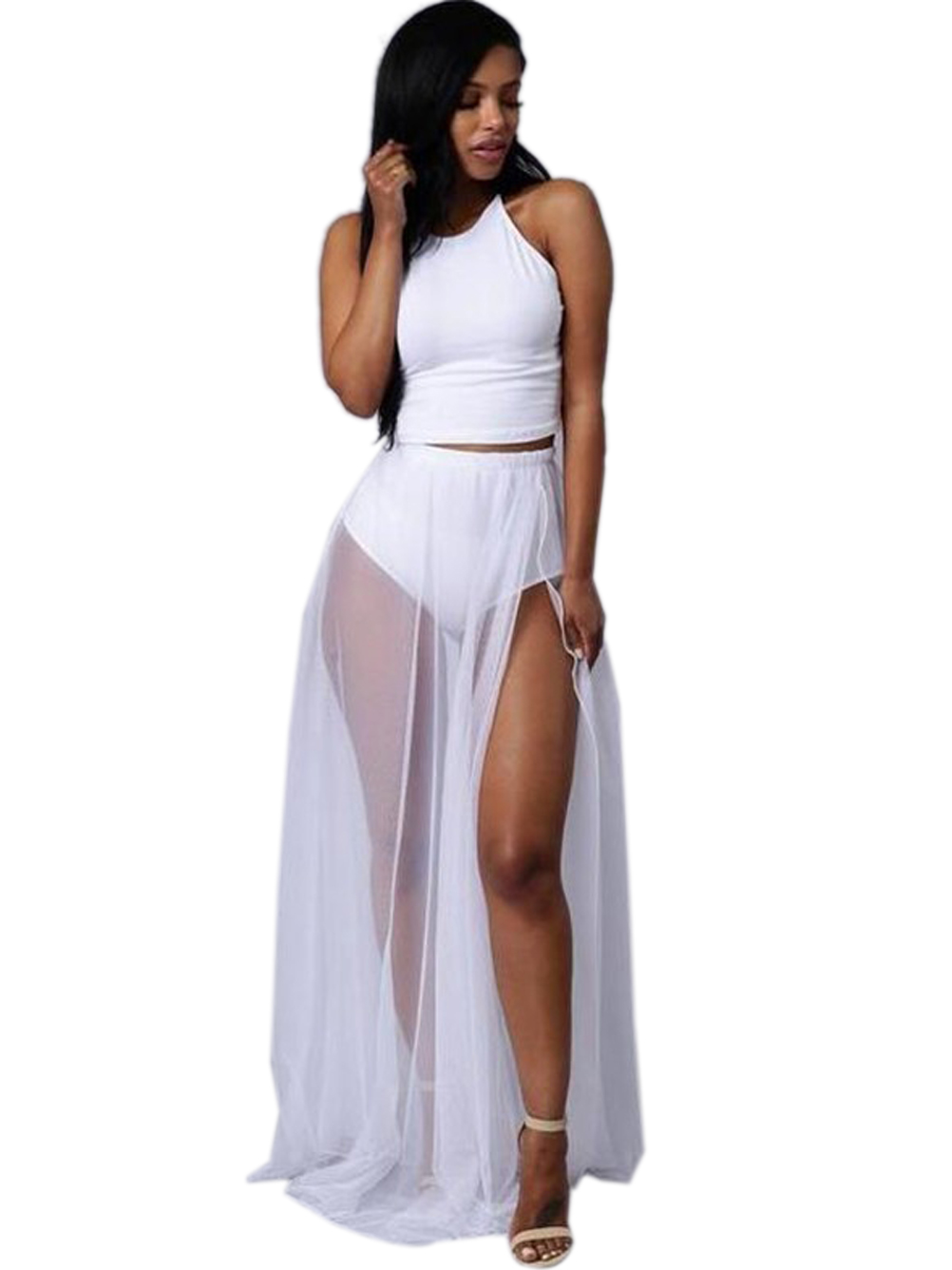 font b Gauze b font See Through Dress High Side Slit Two Piece Women font gauze clothing promotion shop for promotional gauze clothing on,B Gauze Womens Clothing