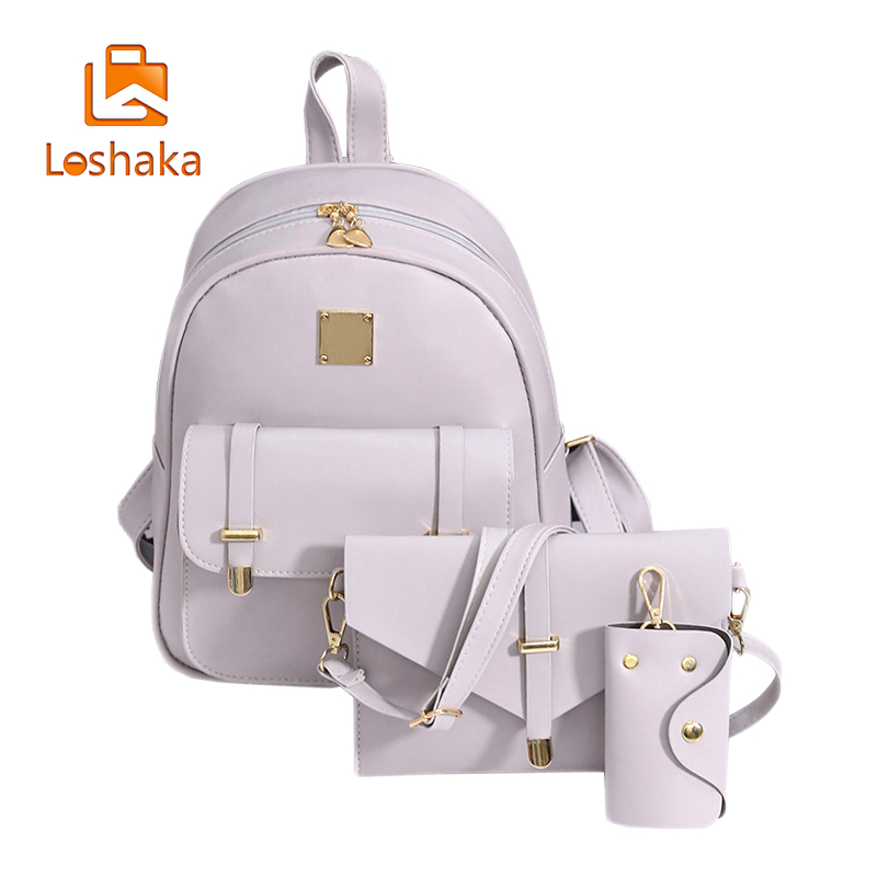 Loshaka Fashion Women Composite Bag Leather Backpack 3 Sets Bag School Backpacks For Teenage Girls Black