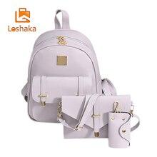 Loshaka модные женские туфли композитный мешок кожаный рюкзак 3 комплекта сумка школьные рюкзаки для девочек-подростков черные мешки Mochila