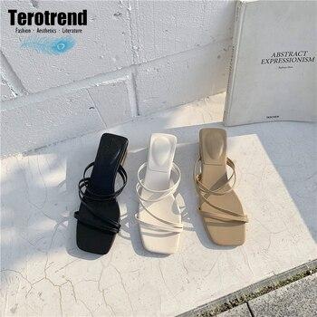 Alto Botón Verano De En Solo Sandalias Zapatos Bruto Mujer Un Tacón Carácter klZiwuOPXT