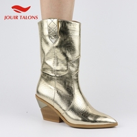 High Quality Brand Gold Winter Big Size 46 Vintage Square Heels Woman Mid Calf Boots Women Shoes Western Boots Shoes Women