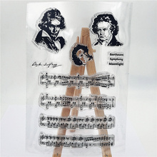 Beethoven Piano Stamps Clear Stamp Rubber Transparent Silicone Seal for DIY Scrapbooking Photo Album Decorative Template Crafts дэниэл баренбойм daniel barenboim beethoven piano sonatas