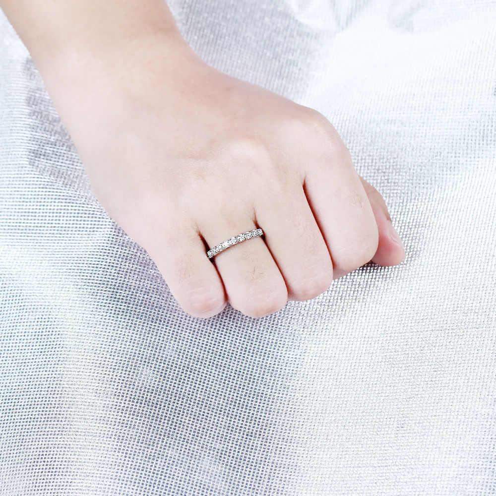 TransGems Moissanite แหวนแต่งงาน Platinum ชุบเงิน 2 มม. Moissanite Clarity VVS1-2 สำหรับผู้หญิงแหวน