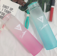 New kpop SEVENTEEN17 official The Same Summer gradient frosted glass freshness letter Lemon cup(China)