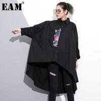 EAM 2018 New Spring Lapel Long Sleeve Embroidery Rivet Split Joint Big Size Irregular Shirt