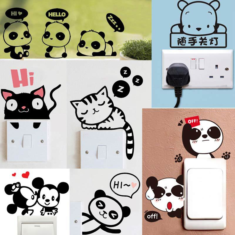 Cheap Lovely Cartoon Mouse Switch Light Switch Sticker Wall Sticker Animal Cat Wallpaper for Kids Baby Rooms Wallstickers Poster