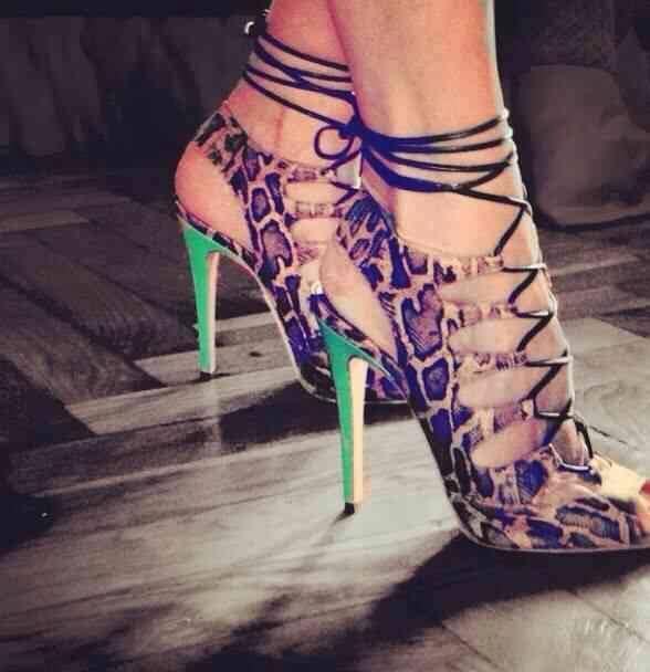 ФОТО 2017 luxury bind belt mesh stage high heels fish mouth high-heeled big yards for women's shoes
