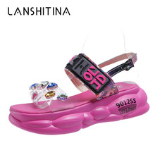 Women Shoes 2019 Platform Sandals Summer New Fashion Flip-Flops Crystal Ladies Rhinestone Beach