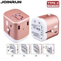 Joinrun Universal Travel Adapter US AU UK EU Plug Socket 3USB TypeC Converter With 3 USB