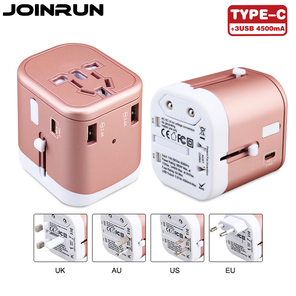 Joinrun Universal Travel Adapter US/AU/UK/EU Plug Socket 3USB+typeC Converter with 3 USB Charging 2.4A