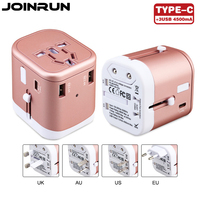 Joinrun Universal Travel Adapter US AU UK EU Plug Socket 3USB TypeC Converter With 3 USB