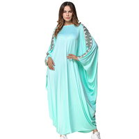 High Quality Arab Elegant Loose Abaya Kaftan Vestidos Turkish Islamic Muslim Dress Clothing Women Bat Sleeve