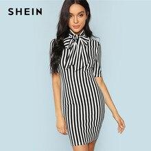 dfee9b1db SHEIN negro y blanco Oficina señora elegante lazo cuello rayas Natural  cintura lápiz vestido 2018 verano mujeres ropa de trabajo.