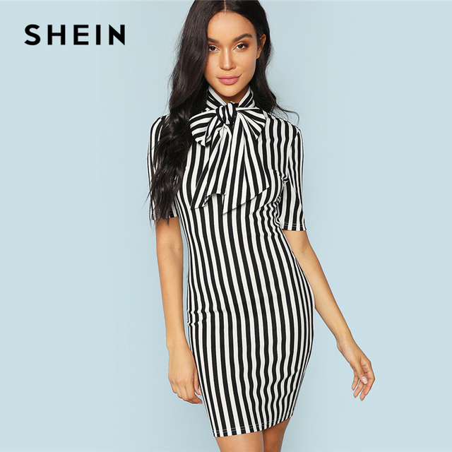 511dd1a843 SHEIN Black And White Office Lady Elegant Bow Tie Neck Striped Natural  Waist Pencil Dress 2018 Summer Women Workwear Dresses