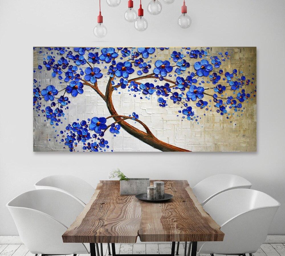 Handmade Original Abstract Blue Tree Impasto Landscape Oil Painting For Living Room
