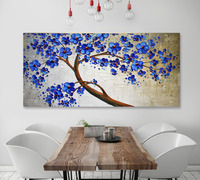 Handmade Original Abstract Blue Tree Impasto Landscape Oil Painting For Living Room