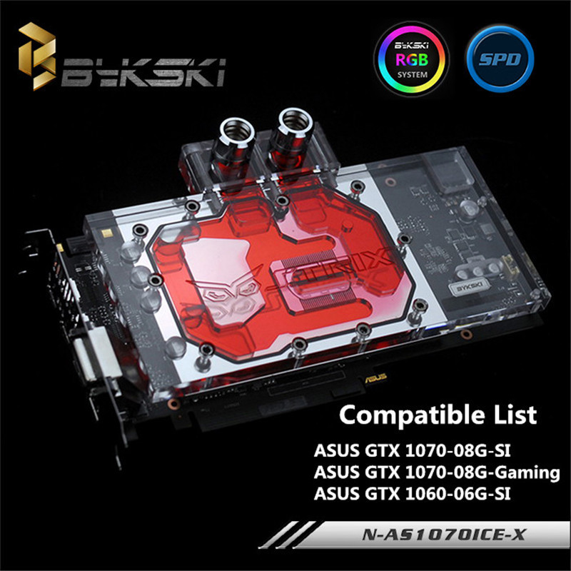Bykski N-AS1070ICE-X ASUS GTX1070 Ice Knight GTX1060 SI water-cooled head GPU Water Block видеокарта asus geforce gtx 1060 1620mhz pci e 3 0 6144mb 8208mhz 192 bit dvi hdmi hdcp rog strix gtx1060 o6g gaming