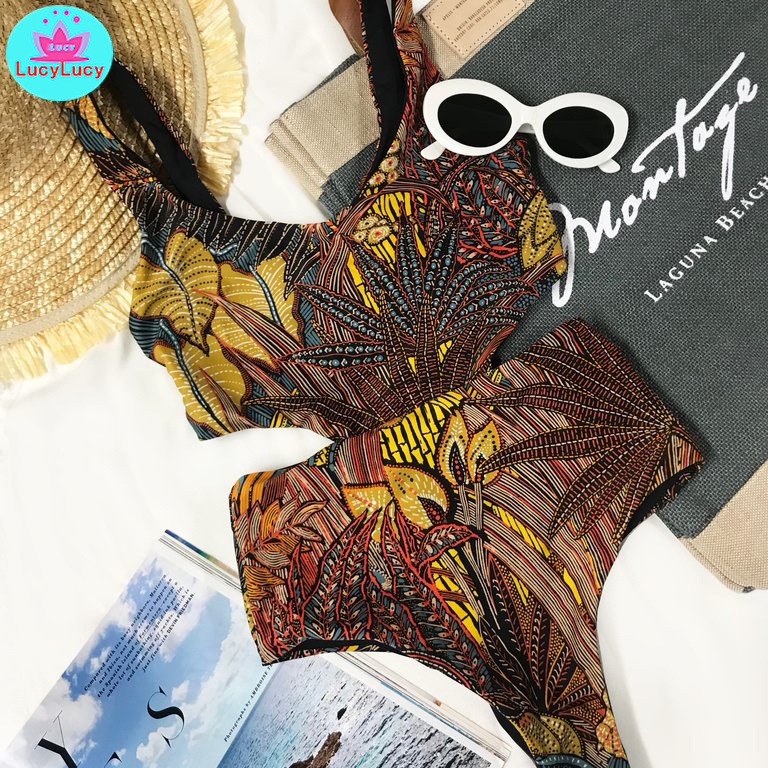 2019 New Summer European And American Fashion Mixed Print Bikini One-piece Swimsuit Triangle Cutting