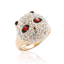 Hot Wedding/Party/ Anniversary Trendy Fashion Alloy Rose Golden Plated 16x15.5 mm 16/17/18 Size Panda Crystal Rings TR0001