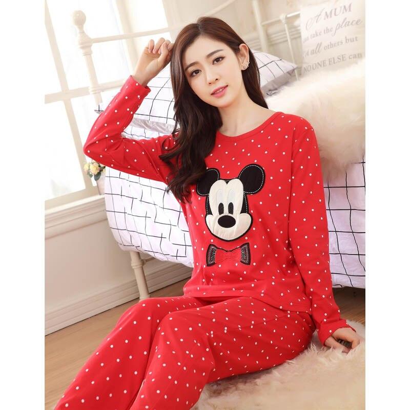 2016 New Women Cute Cartoon Mickey Pyjama Knitted Cotton Sleepwear Ladies  Spring Pajamas Nightgown Set Home Clothing Bathrobe-in Pajama Sets from  Underwear ... 6723a4eb1